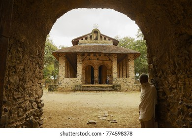 GONDAR, ETHIOPIA - JANUARY 22, 2010: Exterior of the Debre Behran Selassie church in Gondar, Ethiopia.
