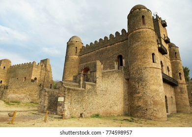 GONDAR, ETHIOPIA - JANUARY 22, 2010: Exterior of the medieval fortress in Gondar, Ethiopia. Gondar castle is a UNESCO World Heritage site.