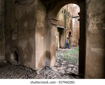 GONDAR, ETHIOPIA - JULY 02, 2016: Fasil Ghebbi (Royal Enclosure)  or Fasilides Castle in Gondar, Ethiopia.