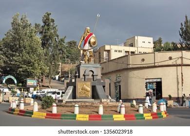 Gondar, Ethiopia - March 3, 2019: Emperor Tewodros called hero of the millennium monument in the center square of Gondar in Ethiopia.