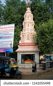 Gondavle district satara state maharashtra india August 2 2009 Temple build on mausoleum (samadhi) of a saintly man with decorative top