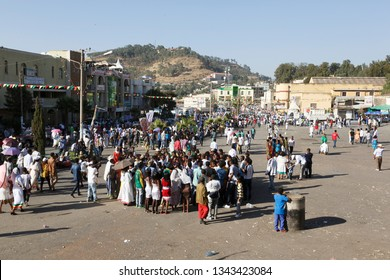 Gonder, Ethiopia, February 18 2015: Locals celebrate the Timkat festival in the city of Gonder, the important Ethiopian Orthodox celebration of Epiphany