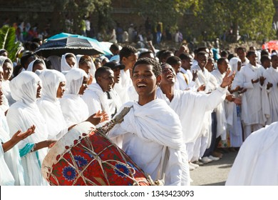 Gonder, Ethiopia, February 18 2015: People dressed in traditional attire celebrate the Timkat festival, the important Ethiopian Orthodox celebration of Epiphany