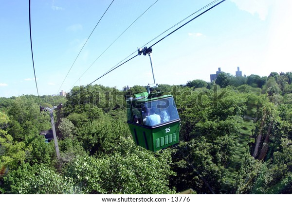 gondola above forest