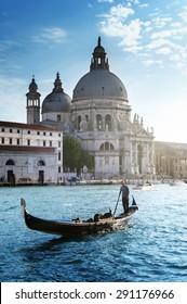 Gondola and Basilica Santa Maria della Salute, Venice, Italy