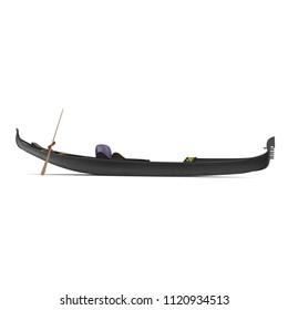 Gondola Boat on white. Side view. 3D illustration