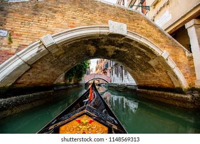 Gondola boat vintage style in Venice