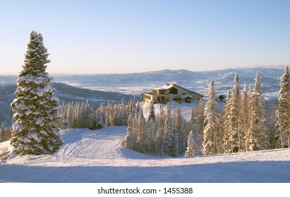 Gondola building at winter, Steamboat ski resort, Colorado, United States