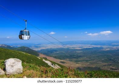 Gondola to Lomnica peak in High Tatra Mountains, Slovakia
