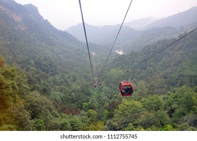 Gondola of Mount Qingcheng Qing Cheng Shan in the city of Dujiangyan, Sichuan Province, China. Mount Qingcheng is UNESCO World Heritage Site since 2000.