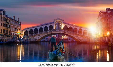 Gondola near Rialto Bridge - Venice, Italy