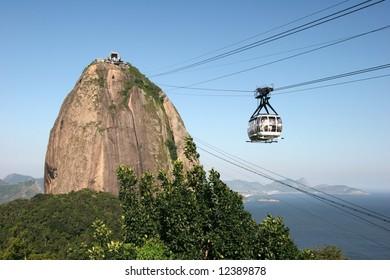 Gondola on the way of transport destination. Rio de Janeiro. Brazil