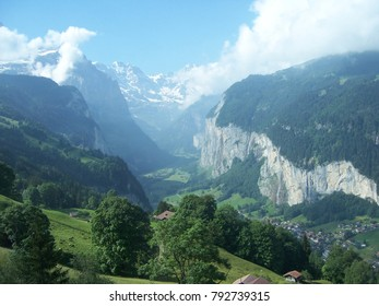 Gondola ride near the Jungfrau, Eiger, and Mönch mountains in the Swiss Alps.