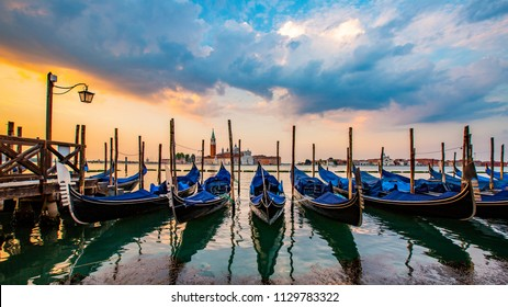 Gondola service tourist people travel around Venice in Italy.
