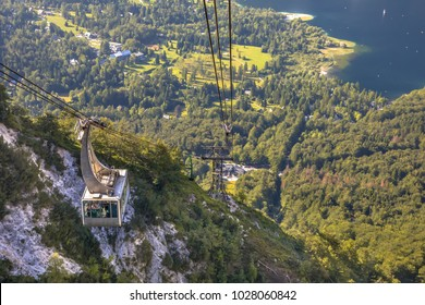 Gondola ski lift in summer taking hikers into the mountains of Vogel area in Triglav National Park near Bled, Slovenia