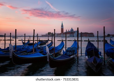 Gondolas in  Grand Canal on sunrise, Venice, Italy