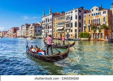 Gondolas  in Grand canal, Venice, Italy , Europe