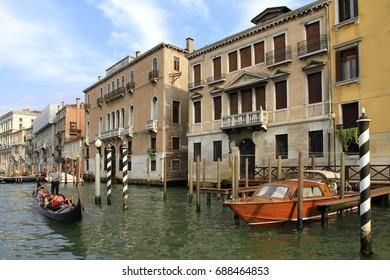 Gondolas at the Grand Canal in Venice, Veneto, Italy, Europe, 07. September 2010