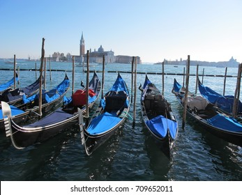 gondolas moored in Grand Canal
