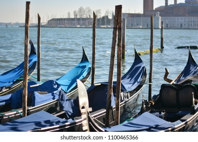 The gondolas moored on the lagoon of San Marco with the cathedral of Santa Maria Della Salute in the background