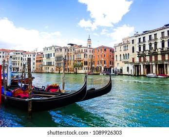 The gondolas on canal in Venice (Venezia), Italy.