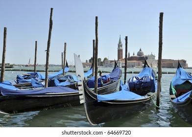 Gondolas on Grand Canal, Venice, Italy