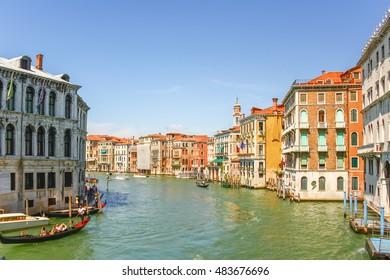 Gondolas sailing in Grand canal, Venice, Italy