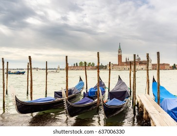gondolas and San Giorgio Maggiore island in the background, Venice, italy