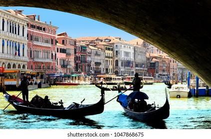 Gondolas under a Bridge, Grand Canal