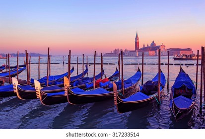 gondolas in Venice lagoon in high dynamic range effect
