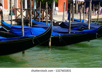 Gondolas waiting for tourists in Venice, Italy