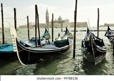Gondole and a view of San Giorgio Maggiore Island - Venezia
