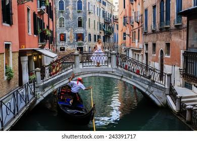 Gondolier and ballerina - Venice, Italy