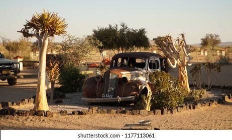 Gondwana / Namibia - May 2016: Old car wreck at the Canyon Roadhouse in Namibia.