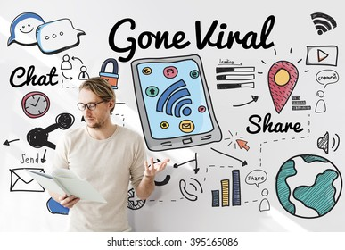 Gone Viral Cyber MultiMedia Internet Technology Concept