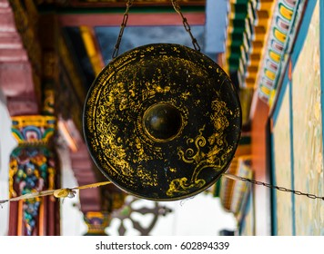 Gong in buddhist temple asia antique quality