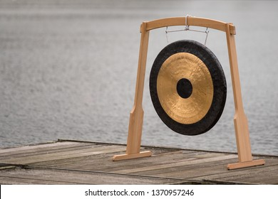 Gong, gong meditation, meditation on the lake