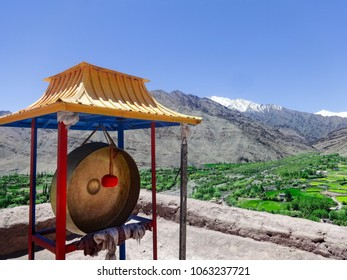 A Gong for prayer in Diskit Monastery located in Nubra Valley of Ladahk in Northern India