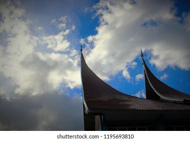 gonjong, a traditional roof of minang ethnic houses, west sumatra indonesia
