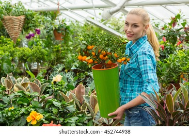 Gonna have the best garden. Shot of a beautiful smiling woman holding potted orange tree looking around in a local greenhouse