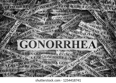 Gonorrhea. Torn pieces of paper with the words Gonorrhea. Concept image. Black and White. Close up.