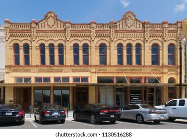 GONZALES, TEXAS - JUNE 10 2018: an ornate anitque building on the square