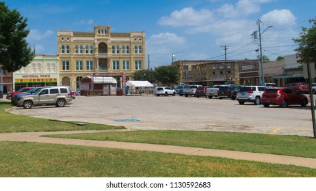 GONZALES, TEXAS - JUNE 10 2018: one side of the main square in the middle of town