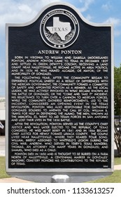 GONZALES, TEXAS - JUNE 10 2018: Andrew Ponton was a key figure in Texas history and a member of the Republic of Texas Congress