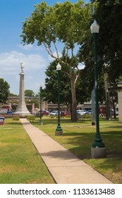 GONZALES, TEXAS - JUNE 10 2018: a park with one of the monuments to Texas history