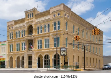 GONZALES, TEXAS - JUNE 10 2018: the Randle-Rather Building, completed in 1895, houses a company by the same name that handles a vast variety of construction