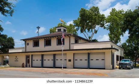 GONZALES, TEXAS - JUNE 10 2018: the fire department building in the center of town