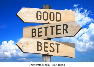 Good, better, best - wooden signpost