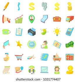 Good business icons set. Cartoon style of 36 good business icons for web isolated on white background