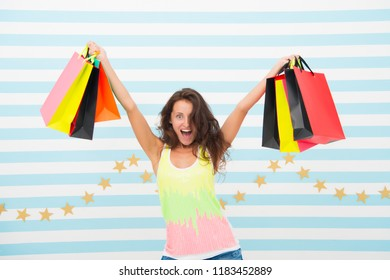 a good buy. happy girl show shopping bags. happy girl after day shopping with good buy. woman with purchase after sale. getting some retail therapy. holidays preparation of excited shopaholic